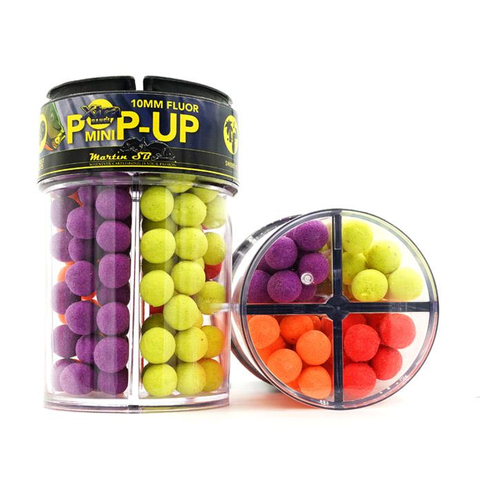 10 mm Xtra Range fluor pop-ups (paars-geel-oranje-rood)