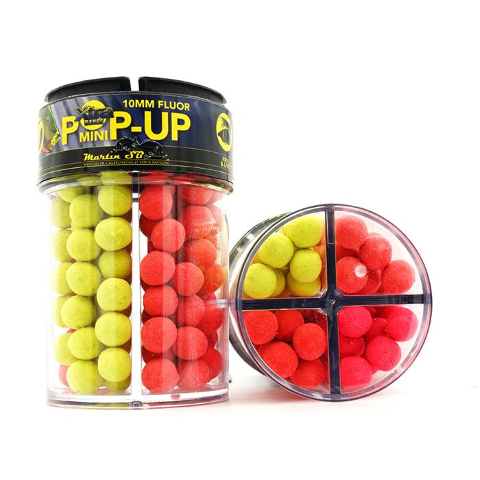 10 mm Xtra Range fluor pop-ups (geel-rood-roze-rood)